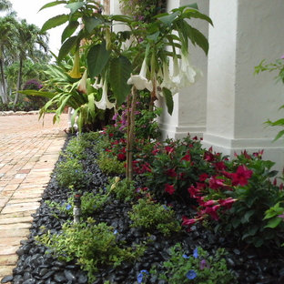 Photo of a large tropical full sun front yard gravel garden path in Tampa.