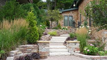 Frontyard with Chilton Limestone Walls and Plantings by John Stadelman