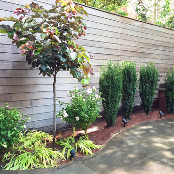 Garden Design with Curved Patio Beds for Backyard in New York, NY