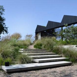 Exemple d'un jardin avant scandinave avec une entrée ou une allée de jardin et du gravier.