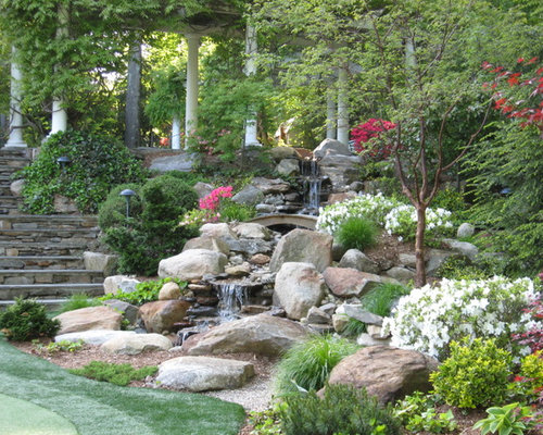 This Is An Example Of A Large Traditional Partial Sun Backyard Stone Water  Fountain Landscape In