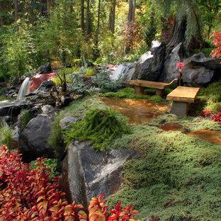 Cette image montre un jardin bohème avec une exposition ombragée et des pavés en pierre naturelle.