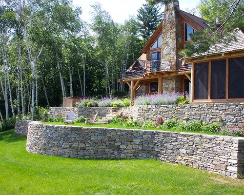 Log cabin retaining wall home design ideas pictures for Log home landscape design