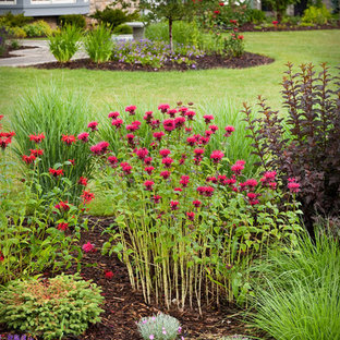 Photo of a mid-sized traditional front yard mulch landscaping in Milwaukee.
