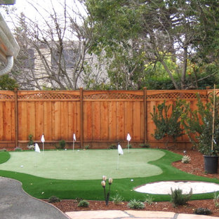 Design ideas for a large traditional backyard concrete paver outdoor sport court in San Francisco.