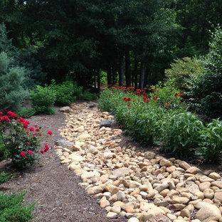 Cette image montre un jardin latéral chalet avec une exposition ensoleillée.