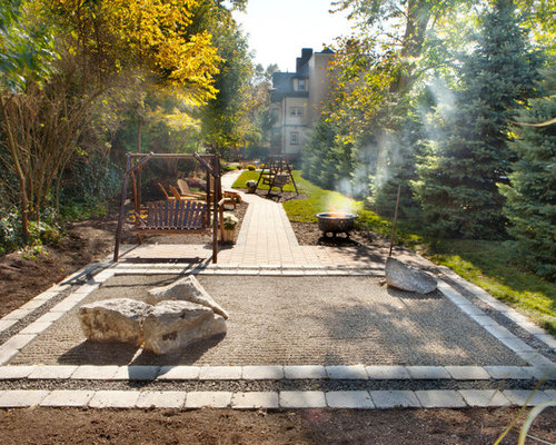Inspiration For A Contemporary Backyard Landscaping In New York With A Fire  Pit.