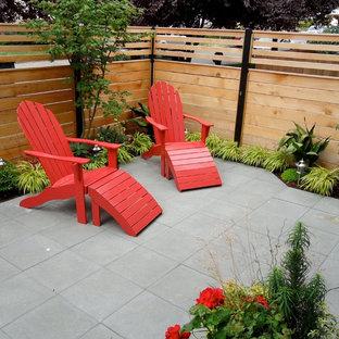 Idee per un piccolo campo sportivo esterno moderno esposto a mezz'ombra dietro casa in inverno con pavimentazioni in cemento