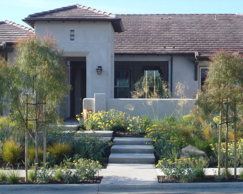 Modern front yard landscape houzz for Modern front house landscaping