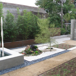 This is an example of a modern garden in San Diego with a water feature.