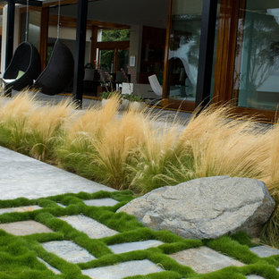 This is an example of a contemporary garden in San Diego with natural stone paving.