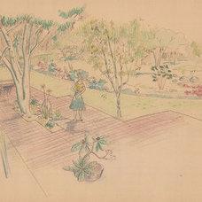 Midcentury Landscape Halprin Sketch of Mary Jean & Joel E.Ferris, II in Proposed Landscape 1955