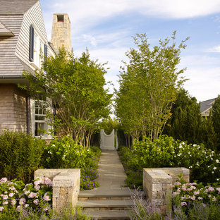 Inspiration for a beach style side yard garden in New York.