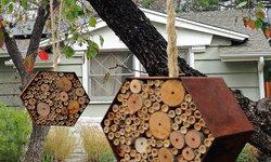 Hanging Bee Bungalows in the garden
