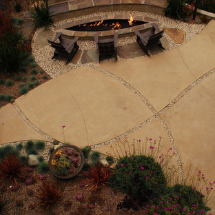 This is an example of a contemporary landscaping in Los Angeles with a fire pit.