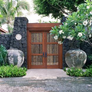 Cette photo montre un jardin exotique avec une entrée ou une allée de jardin.