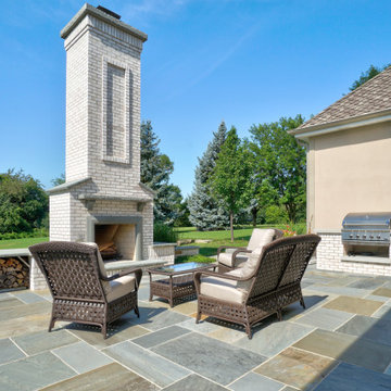 Hawthorn Woods Colonial - Entry Courtyard and Fireplace Terrace