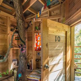 Diseño de jardín rural con parque infantil