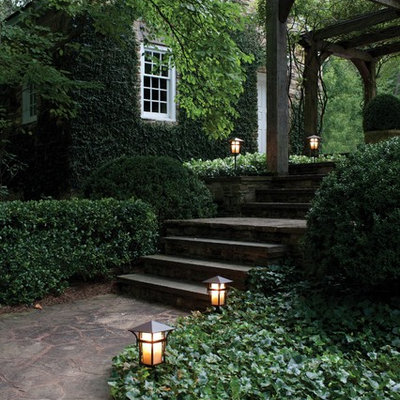 Photo of a traditional stone garden path in New York.