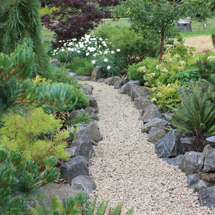 Foto di un grande giardino classico esposto in pieno sole dietro casa con ghiaia e un ingresso o sentiero