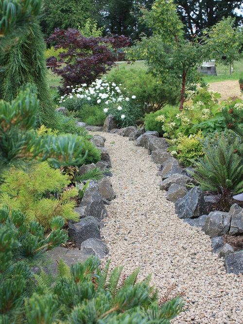 Photo Of A Large Traditional Full Sun Backyard Gravel Garden Path In Other.