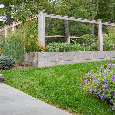 Photo of a mid-sized rustic full sun backyard landscaping in New York for spring.