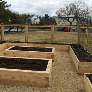 Стильный дизайн: большой геометрический, солнечный огород на участке на заднем дворе в стиле рустика с хорошей освещенностью - последний тренд