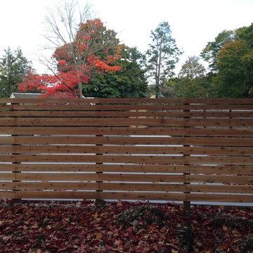 Horizontal boards cedar fences