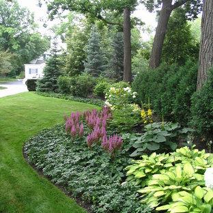 Cette image montre un jardin à la française avant traditionnel l'été avec une exposition partiellement ombragée.