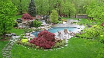 Installation of Pool, Bluestone Pool Decking and Landscaped entire yard