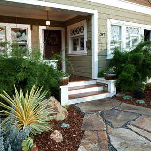 This is an example of a mediterranean drought-tolerant front yard stone landscaping in San Luis Obispo.