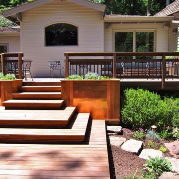 IPE DECKING WITH BUILT IN COPPER FRONT PLANTERS