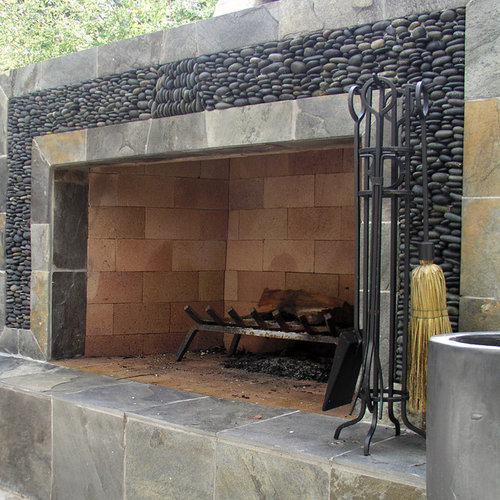 Pebble Fireplace Home Design Ideas Pictures Remodel And