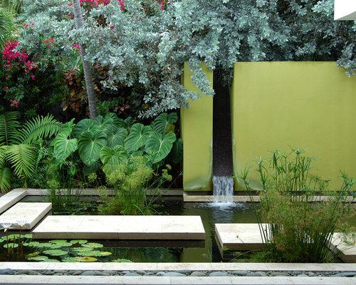 Photo Of A Contemporary Water Fountain Landscape In Miami.