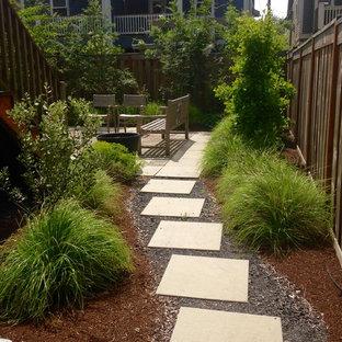 Idéer för små funkis bakgårdar i full sol som tål torka, med marksten i betong