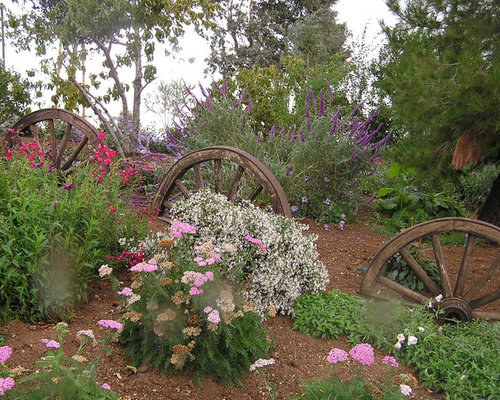 Photo Of A Rustic Backyard Landscaping In Los Angeles.