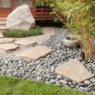 This is an example of a mid-sized asian side yard partial sun garden in Houston with a garden path and natural stone pavers.