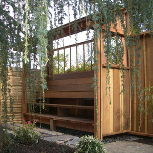 Foto de jardín de estilo zen, en patio trasero, con adoquines de piedra natural