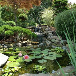 Idée de décoration pour un jardin asiatique avec un point d'eau.