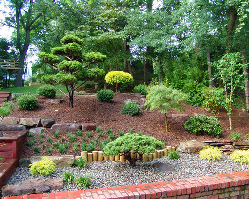 Yard Landscaping Mulch : Rock and mulch front yard landscaping houzz