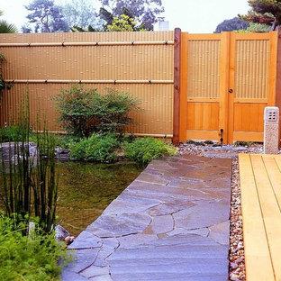 Inspiration for an asian backyard water fountain landscape in San Diego.