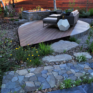 This is an example of a mid-sized asian backyard gravel water fountain landscape in San Diego.