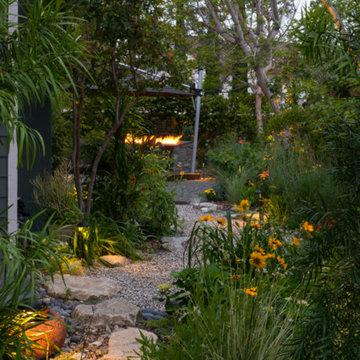 Japanese Zen Garden Backyard with Fountain and Patio