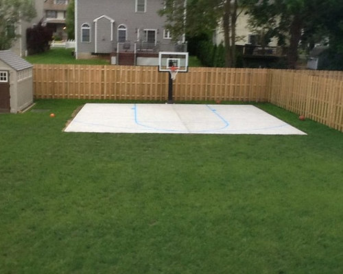 Driveway basketball hoop houzz for Home basketball court size