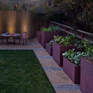 Cette image montre un jardin arrière design de taille moyenne et au printemps avec du gravier et une exposition partiellement ombragée.