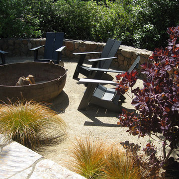 Kentfield, CA,  Low Maintenance Garden with Fire Pit - Lawn replaced with DG (De