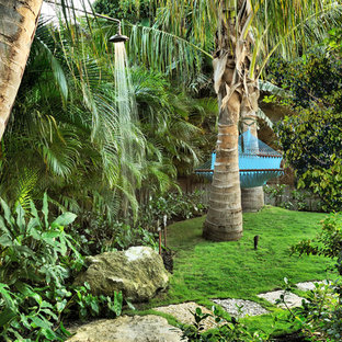 Design ideas for a tropical backyard landscaping in Miami.