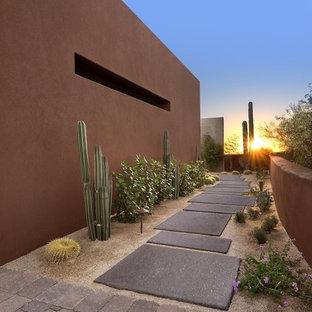 Esempio di un grande giardino xeriscape stile americano esposto in pieno sole nel cortile laterale in autunno con pavimentazioni in cemento e un ingresso o sentiero