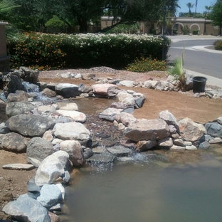This is an example of a large southwestern full sun front yard pond in Phoenix.