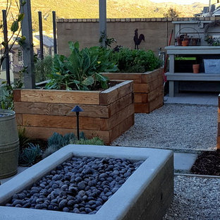 This is an example of a small farmhouse drought-tolerant and full sun backyard concrete paver vegetable garden landscape in Los Angeles.